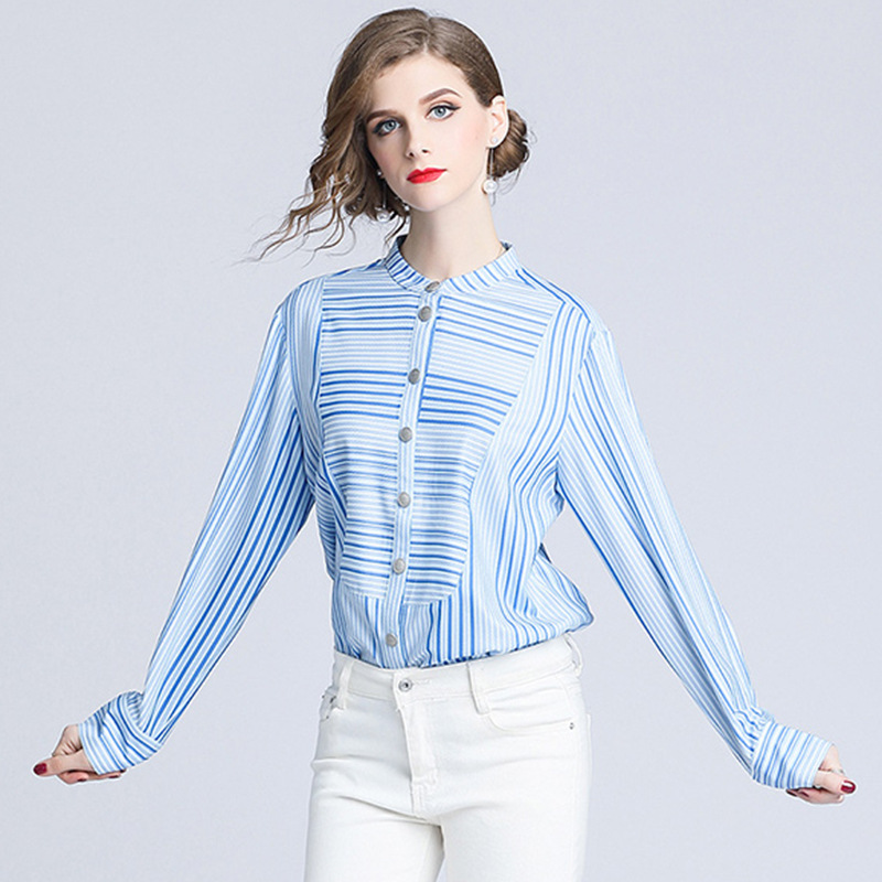 Azzurro Blu Cotone Di Della Ragazza Xxl Office Formale Lady Delle Fondo Autunno Molla Vintage Pullover Temperamento Xl Top Camicia Cielo Camicetta Donne wxFRqTX