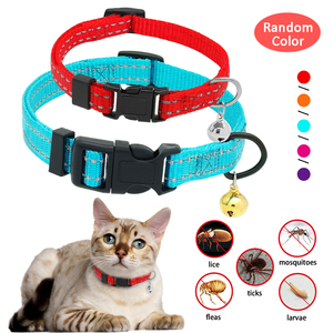 Flea and Tick Dog Cat Collar Reflective Puppy Kitten Anti Flea Mite Louse Neck Strap With Bell(China)