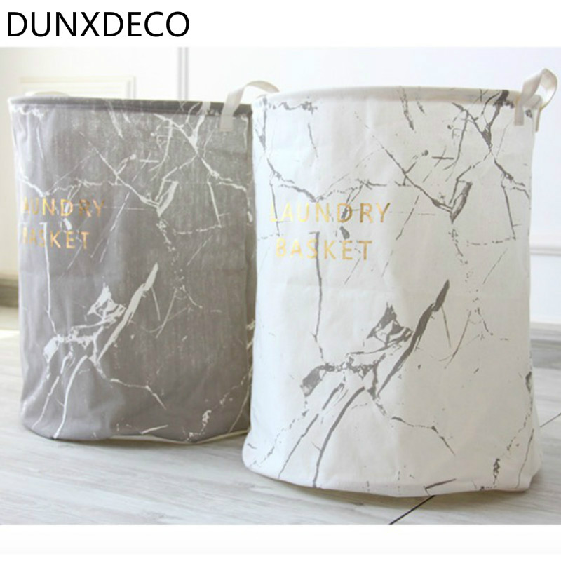 e33c0030cc4 DUNXDECO Aesthetics Nordic Marble White Grey Black Foldable Home Office  Storage Basket Multifunction Cloth Toy Holder Container