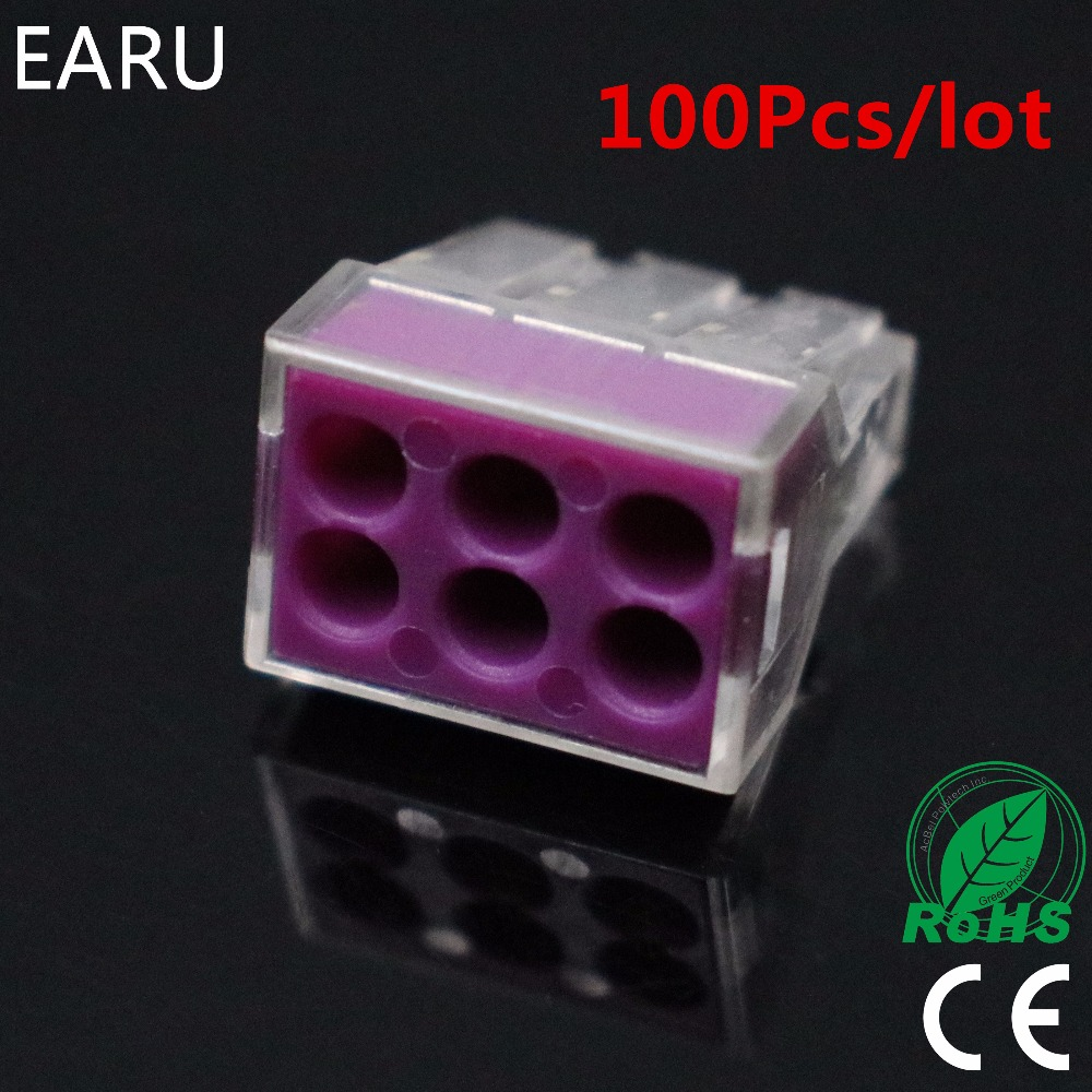 100PCS/lot PCT-106 PCT106 773-106 Push Wire Wiring Connector For Junction Box 6 Pin Conductor Terminal Block Wire Connector