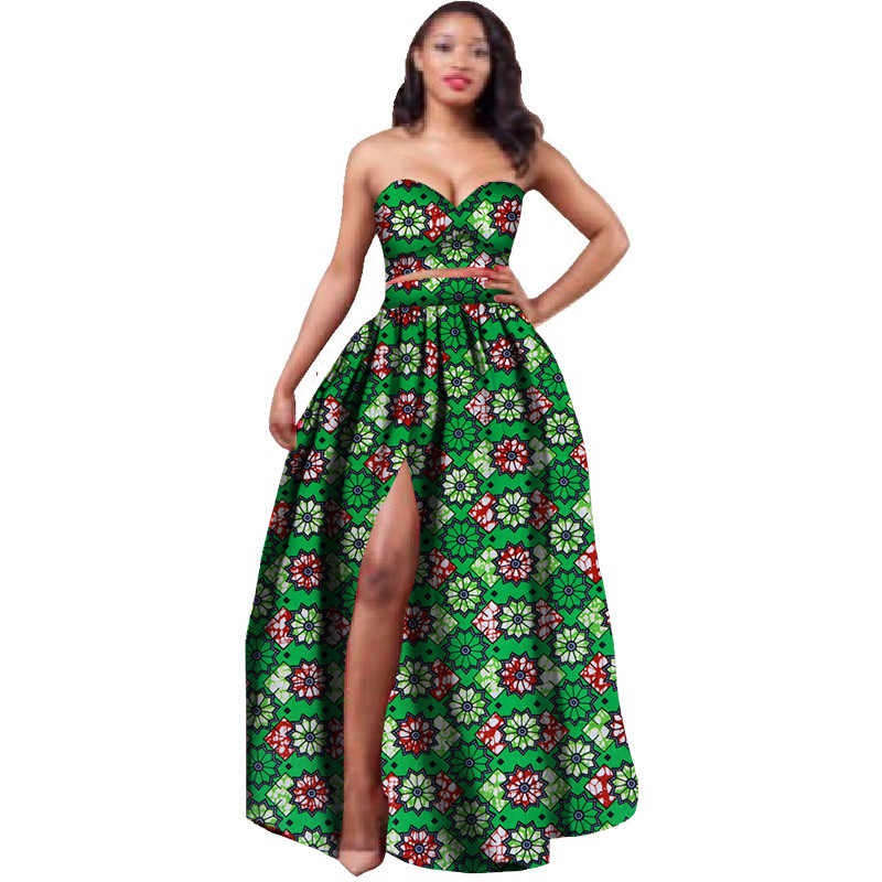 76aeacea8ad003 2018 African Clothes Dashiki for Women Bazin Riche Crop Top and Skirt Set 2  Piece Traditional