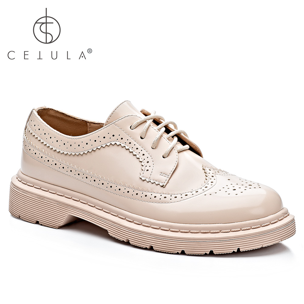 @Cetula 2018 Handcrafted Lace-up Brogue Detailed&Structured Stitching Waxing Leather Female Oxford&Derby Shoes ft.Stitching Sole