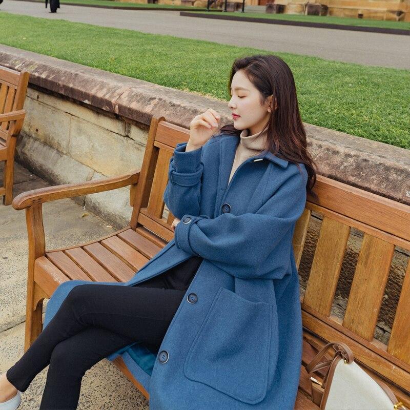 De Tea blue Veste Laine Pardessus Manteau Printemps 2019 Coréenne Single breasted Milk Longue Mme Femmes Automne Slim Femelle qSwtafxaA