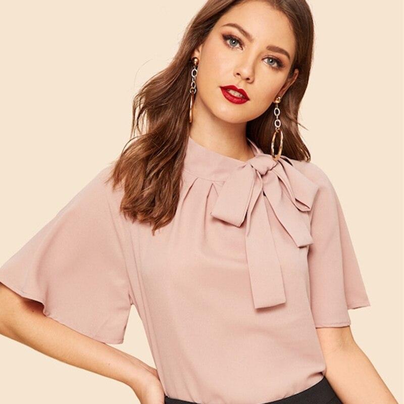 Blusa Marshmallow rosa con cinta elengante Paraíso de la Moda | PdM