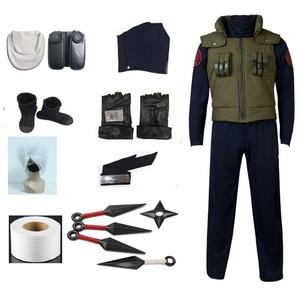 Image 1 - Костюм для косплея хатакэ Какаси из аниме Наруто, одежда + перчатки + повязка на голову + парик + сапоги + сумки + оружие + маска, Индивидуальный размер