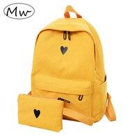 Луна дерева высоко-качественный холст печатных Сердцы жёлтый простый рюкзак корейского стили студентов девочек школьныхрюкзак 2018