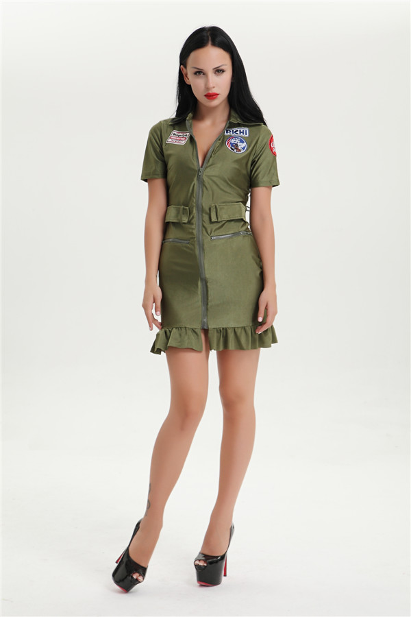 Free Shipping Wholesale Top Gun Womens 80S Costume Army -5393
