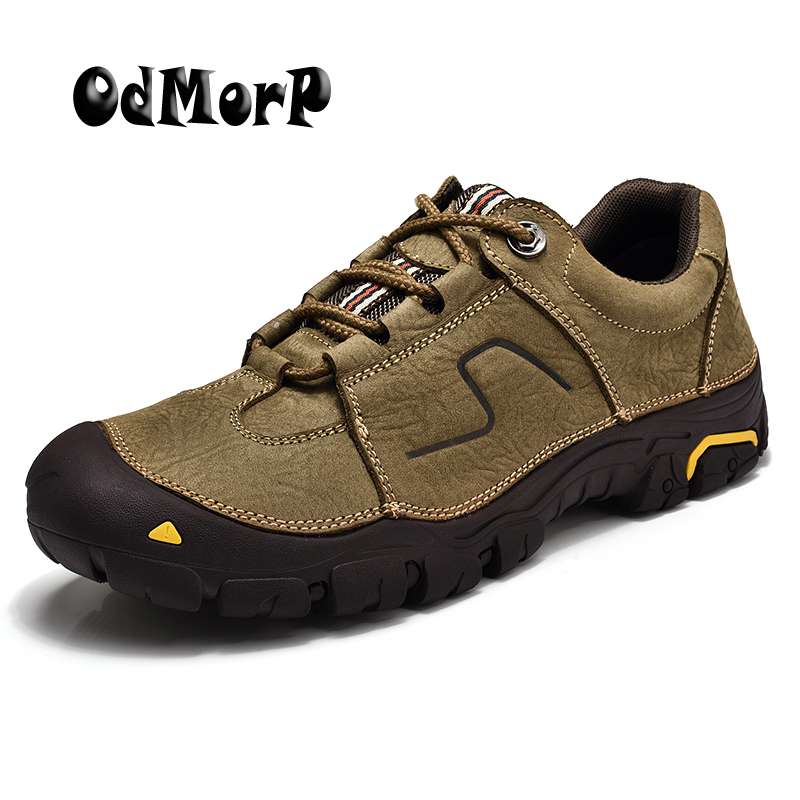 ODMORP Men Shoes High Quality Genuine Leather Men's Sneakers Comfortable Toe Protected Autumn Casual Shoes Size 45