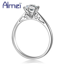 Almei 5% Real Pure 925 Sterling Silver Crystal Rings For Women Zirconia Ring Costume Silver-925-Jewelry Items Bague Argent JZ048