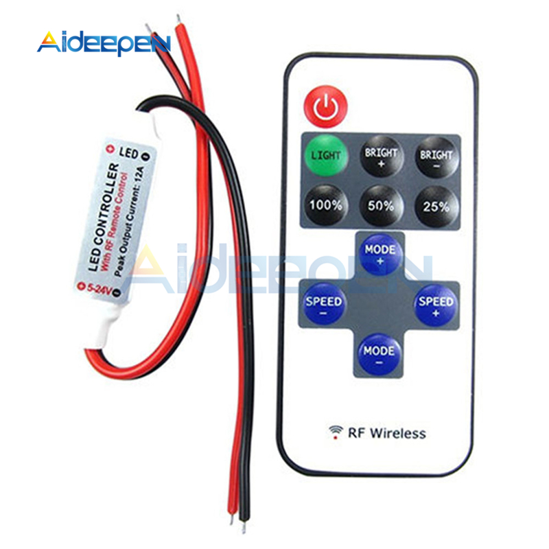 1Set 12V RF Mini Wireless Controller Switch <font><b>LED</b></font> <font><b>Dimmer</b></font> with <font><b>Remote</b></font> Switch Mini In-line <font><b>LED</b></font> Light Controller/<font><b>Dimmer</b></font> DC 5V to 24V image