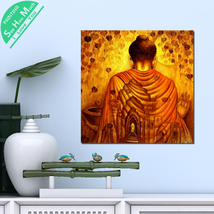 1 Piece Wallpaper Golden Buddha HD Printed Canvas Wall Art Posters and Prints Poster Painting Framed Artwork Room Decoration in Painting Calligraphy from Home Garden