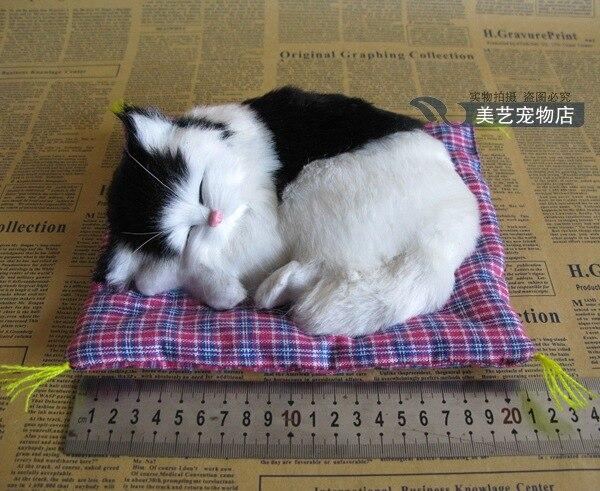 simulation cat model,19x14cm sounds miaow black&white cat with mat,polyethylene& fur handicraft,home Decoration, Xmas gift b3650