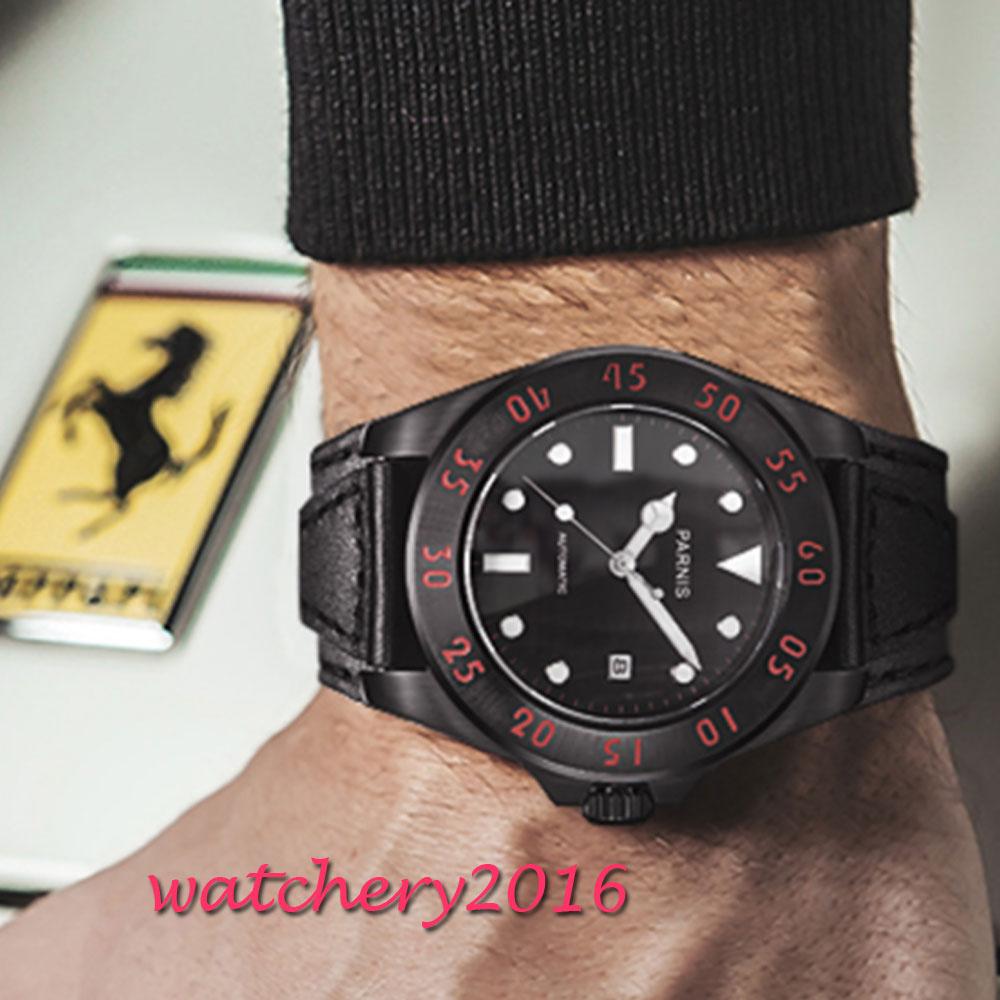 43mm Parnis Schwarz Weiß Zifferblatt Uhr Männer Casual Leder Automatische Mechanische Uhren Saphir Kristall Uhr Herren Präsentieren-in Mechanische Uhren aus Uhren bei  Gruppe 2