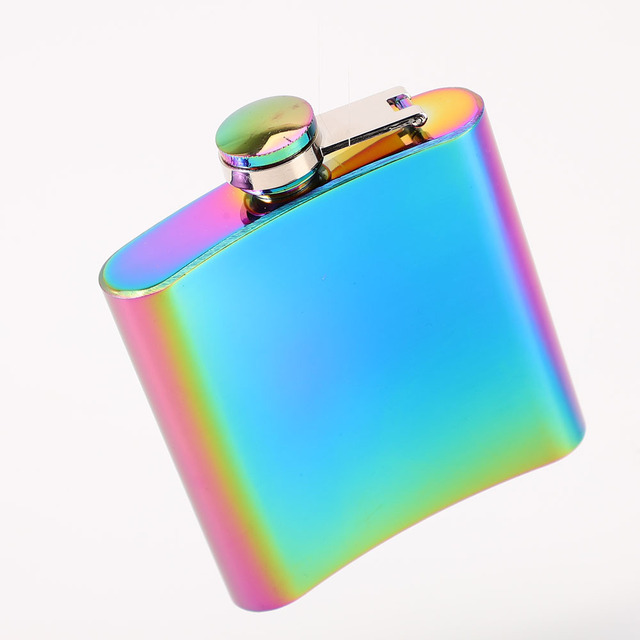 Rainbow Colored Stainless Steel Hip Flask 6oz