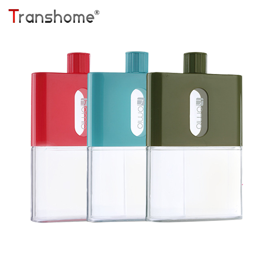Transhome Flat-Bottle Drinkware Plastic Bpa-Free Outdoor-Sports Creative Portable A5