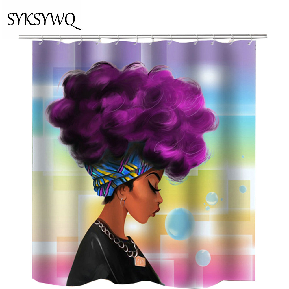 Waterproof Bathroom African Shower Curtain Colorful Polyester Fabric Custom Afro Woman Bathroom Shower Curtain