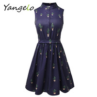 Summer Style 2016 Women Dress Flamingo Fun Flare Prints Casual High Waist Cute A Line Mini