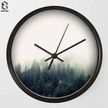 ФОТО modern art wall clocks fog forest for bedroom wall decor, desk decorative mute quartz clock nordic home decoration