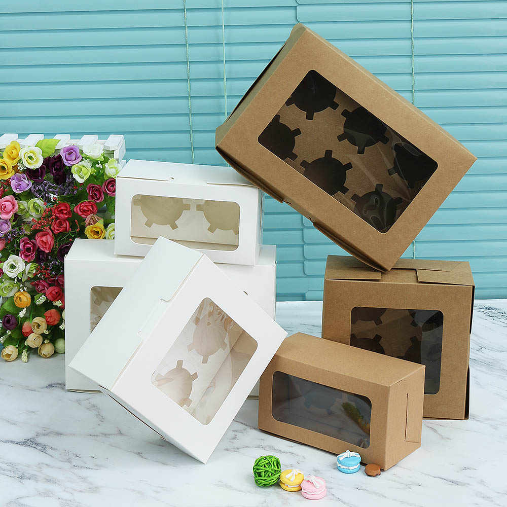 1pc New Craft Paper Cookie Cake Packaging Box with Plastic PVC Window for Candy Kids Gift Party Supplies Wedding Favors