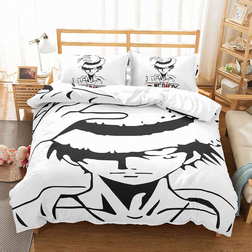 3D One Piece Printed White Bedding Set Cartoon Anime Duvet Cover Set 3 Pieces Japanese Style Boy Bed Linen Set With 2 Pillowcase