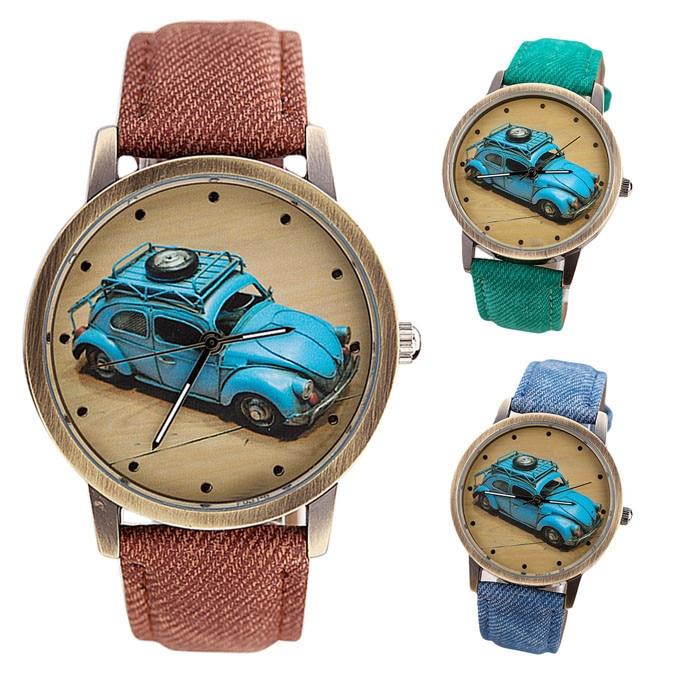 Vico 2018 New Luxury Men Watch Concise Fashion Men And Women Retro Car Pattern Denim Twill Strap Watch Clock relogio masculino fashion twill pattern 5cm width color block tie for men