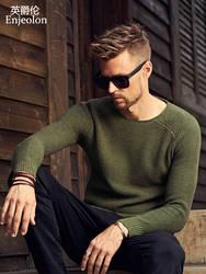 Enjeolon брендовый Зимний вязаный пуловер с круглым вырезом, мужские однотонные свитера, мужская хлопковая одежда, Мужской Повседневный