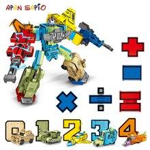 10PCS Transformation หมายเลขหุ่นยนต์ของเล่นบล็อกอาคารรูปกระเป๋า Morphers การศึกษาภาพการกระทำของเล่นเด็ก