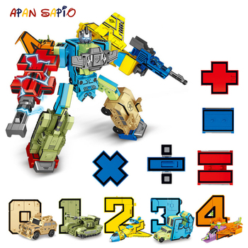 10PCS Transformation Number Robot Toy Building Blocks Deformation Pocket Morphers Educational Action Figure Toy for Children