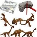 Mineração Fóssil de Dinossauro Esqueleto Figura 6 pçs/set Arqueologia Mundo Jogar Brinquedos de Plástico Dinossauro Collectible Toy Modelo