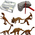 Mining Archeology Dinosaur Fossil Skeleton Figure 6pcs/set  Plastic Jurassic Park World Play Toys Dinosaur Collectible Model Toy