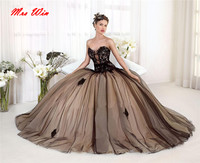 47088d309 Black Lace Tulle Champange Lining Quinceanera Dresses Sashes Sweetheart  Ball Gown Prom Dresses 15 Years Party