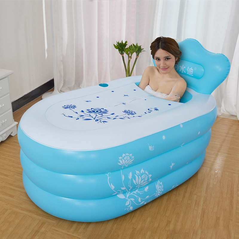 Small Size Pool Adult Folding Thickening Warm Keeping PVC Tub Inflatable Portable Bath Barrel Bathtub 130x80x48cm