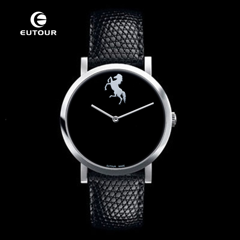 EUTOUR Ultra Thin Luxury Brand Men black Watch Men's Business leather Male Horse watches Minimalist Simple quartz Wristwatches ultra luxury 2 3 5 modes german motor watch winder white color wooden black pu leater inside automatic watch winder