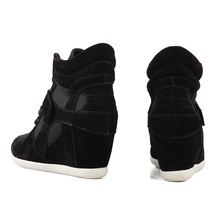 2016 Autumn Winter Height Increasing Women's Casual Shoes Casual New Wedge Canvas Shoes Boots Heels Hidden Wedges Platform Boot