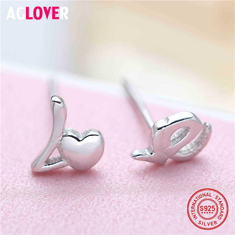 925 Sterling Silver Stud Earring Fashion Asymmetry Heart Love Letter Earrings Accessories Women Birthday Jewelry Gift