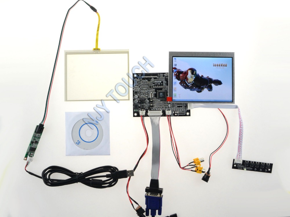 New 5.6inch AT056TN53 640x480 LCD Screen Touch Panel USB + VGA AV Controller Board kit new 3 5 tft pd035vx2 640x480 lcd screen vga av lcd controller board kit for projection