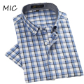 2017 NEW mens high quality short sleeve shirt brand casual dress shirts for men formal plaid spring summer shirts large size