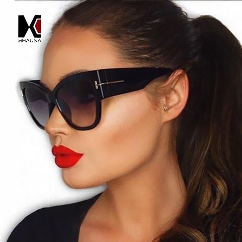 SHAUNA Vintage Wood Grain Frame Women Cat Eye Sunglasses Brand Designer Oversize Fashion Men Clear Lens Shades UV400