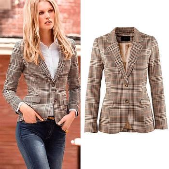 Women Casual Work Button Suit Office Coat Jacket Blazer Jacket Suits Ladies plaid blazer Casual Long Sleeve Female coat female