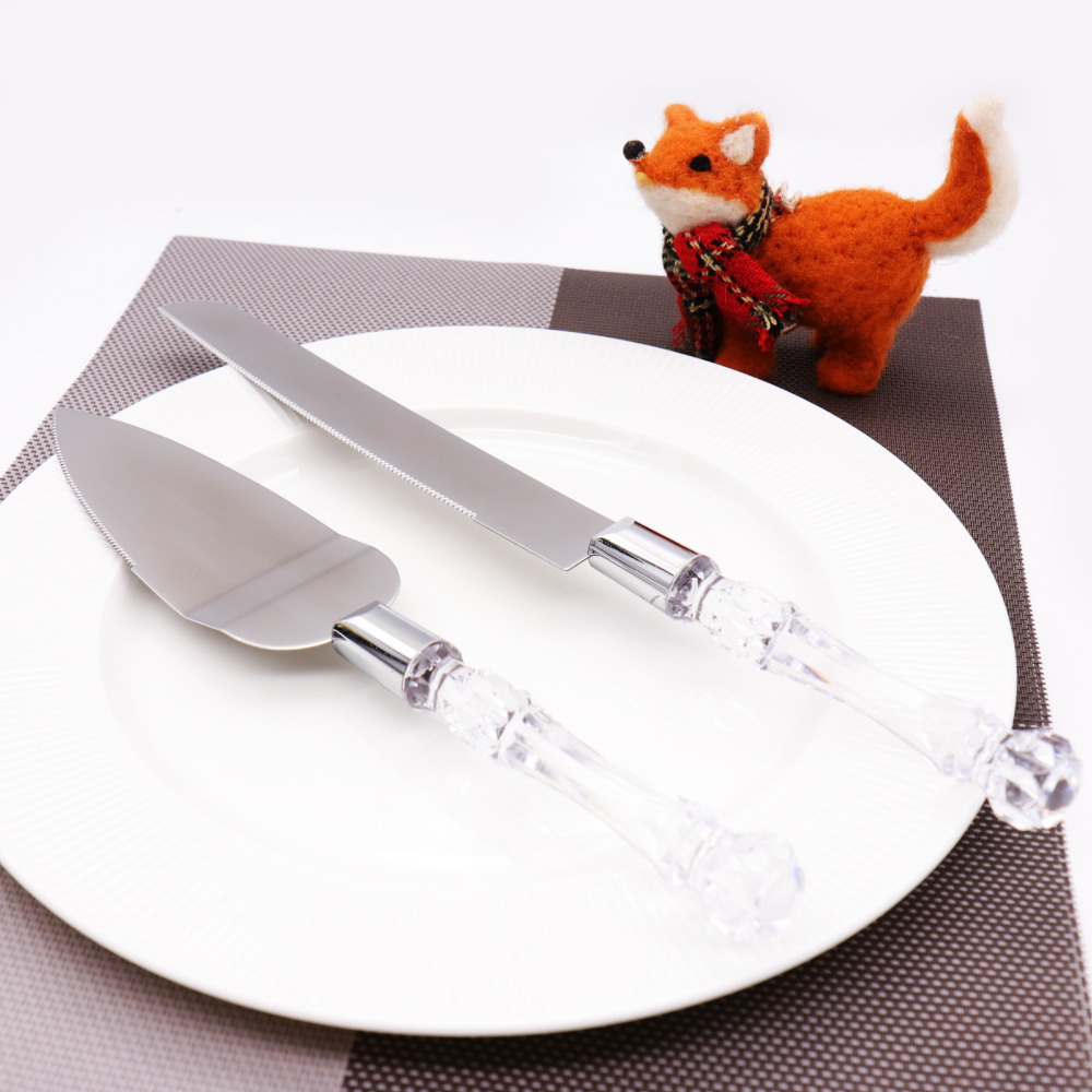 Stainless Steel Wedding Party Cake Knife Server Set Acrylic Faux ...