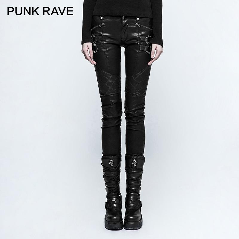 PUNK RAVE Punk Rock Rivets grille couture PU cuir pantalon jambe fermeture éclair avec serré course moto pantalon pour les femmes