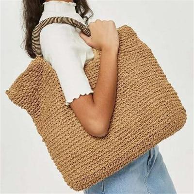 Fashion Summer Round Straw Bag Beach Rattan Woven Handbag Totes Ladies  Knitted Messenger Beach Bags Female Bag Shopper Purse -in Shoulder Bags  from Luggage ... b672e0d9e2cd7