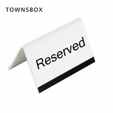 10x6cm White Acrylic Black UV Printing Letter Desk Sign Stand Hotel Resturant Table Reservation Signage Board Desk Sign Plate(China)