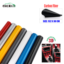 цена на 30cmx152cm 3D Carbon Fiber Vinyl Car Wrap Sheet Roll Film Car stickers and Decals Motorcycle Car Styling Accessories Automobiles