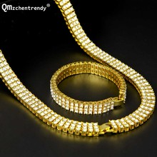 Men Hip Hop Rock Gold Silver Bling 3 Three Rows Rhinestone Pharaoh Jewelry Set Miami Cuban