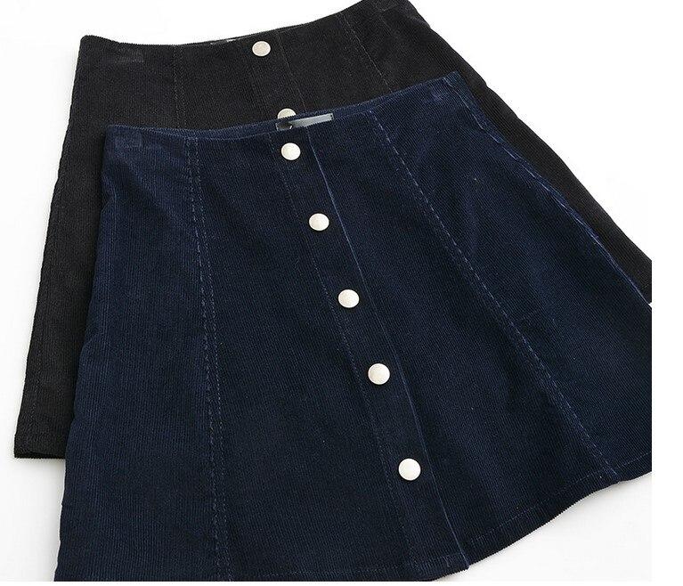 28ff8d766e 2017 4 COLORS Elina woman skater saia etek faldas Jupe Gonna Petite Vintage  Corduroy Button Front A Line Skirt femme s m l XL-in Skirts from Women s ...