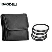 "baodeli קבוצה אחת BAODELI קבוצה אחת מצלמת עדשת Filtro קונספט Close Up 1 2 4 10 מאקרו מסנן 49mm 52 55 58 62 67 72 77 82 מ""מ עבור קנון ניקון סוני (1)"