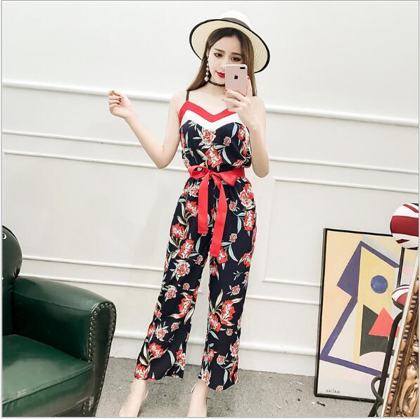 Femmes de tempérament était mince couleur lutte sangle de couleur costume pantalon Mince de mode nouvelle femmes Coréennes sauvage