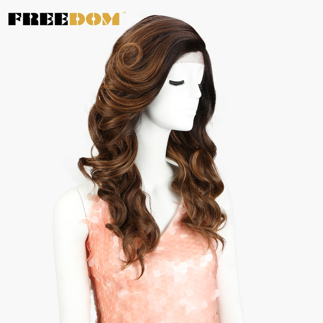 FREEDOM Synthetic Lace Front Wig 22inch Loose Wave Wavy Heat Resistant Wigs For Black Women Dark Root Ombre Blue Brown Side Part