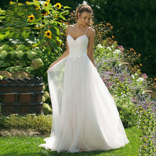 Eightree Beach Wedding Dress 2019 Sweetheart Backless Appliques Lace Bride Spaghetti Strap A-Line Boho Gowns